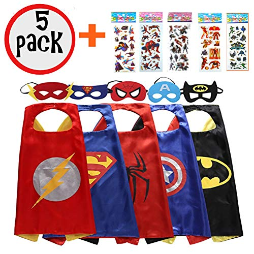 squishybean 5 Sets Kinder Cape und Masken Flash Superman Spider-Man Captain America Batman Kostüme Super Hero Kleid bis Flash Superman Spiderman Captain America Batman Kostüme Avengers Flash Superman Spider Man Captain America Batman Fancy Kleid