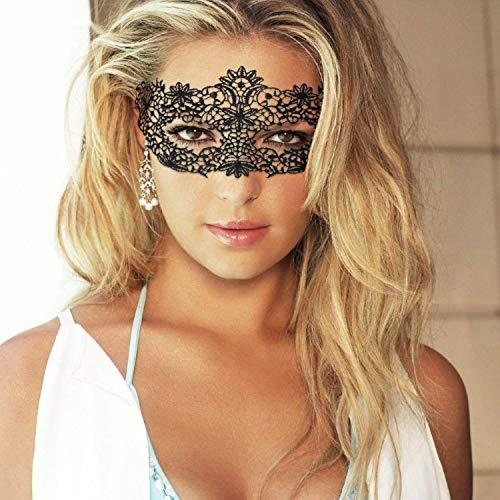 Nipoo Spitze Maskenball Maske - Frauen Maskerade Sexy Augenmaske - Venezianische Gothic Gesichtsmaske - Karnevalsmaskerade für Halloween Weihnachtsfeier - Schwarz