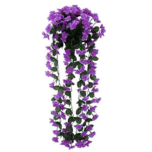 Hochzeit Girlanden Blumen Deko Hängepflanze Dekopflanzen Kunstblume (Lila)