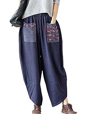 Mujer Cintura Alta Imprimir Pantalones Tamaño Grande Suelto Pantalones Pierna Ancha