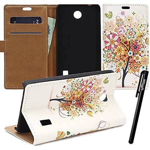 WeLoveCase Huawei Ascend Y635 Custodia , PU Leather Case per Huawei Ascend Y635 (5 Pollici) (Owl Clip Di Carta)