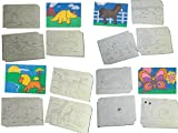 Assorted Farm Animal, Safari Animal, Dinosaur & Minibeasts Sand Art Pictures (Pack of 16) (15 x 21 cm) - Sand NOT included