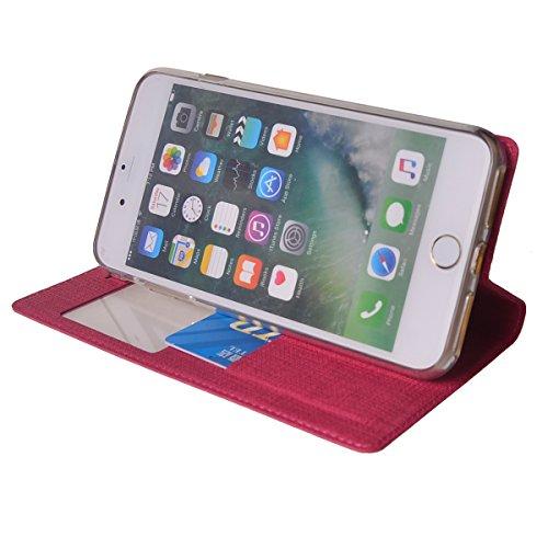 MEIRISHUN Apple iPhone 6 Plus/ 6s Plus Case,Portafoglio PU Pelle Magnetico Stand Morbido Silicone Flip Bumper Protettivo Gomma Shell Borsa Custodie con Slot per Apple iPhone 6 Plus/ 6s Plus - Nero Magenta