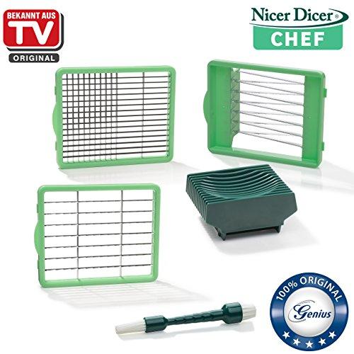Genius Nicer Dicer Chef | Messereinsätze inkl. Tomateneinsatz & Reinigungsbürste | Bekannt aus TV | NEU