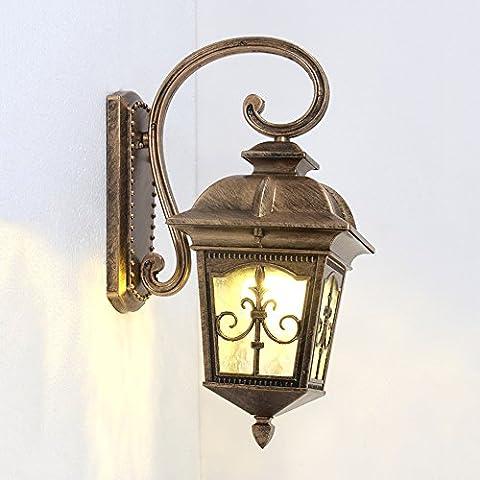 Lampe de mur à LED imperméable à l'extérieur et à l'extérieur de style européen Retro Black / bronze à carreaux LOFT American Villa Door Garden Facile à installer Eau Ripple Glass E27 Aluminium Wall Light ( Couleur : Bronze )