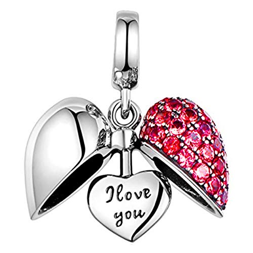 e3b84eecd I Love You Silver Heart Crystal Charm Sterling Silver 925 fits Pandora  Women's Charms Bracelet Bead