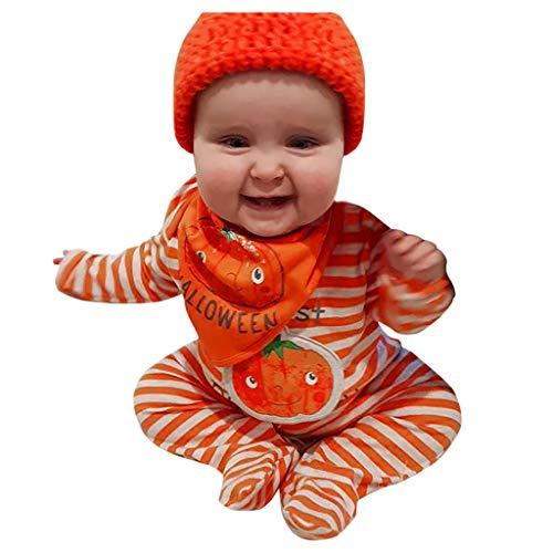Halloween Kostüm Blumentopf - DIASTR Säuglings Baby Kleinkind Jungen Mädchen Kürbis Spielanzug Halloween Kostüm Langarm Streifen Druck Overall 3Monate-24Monate