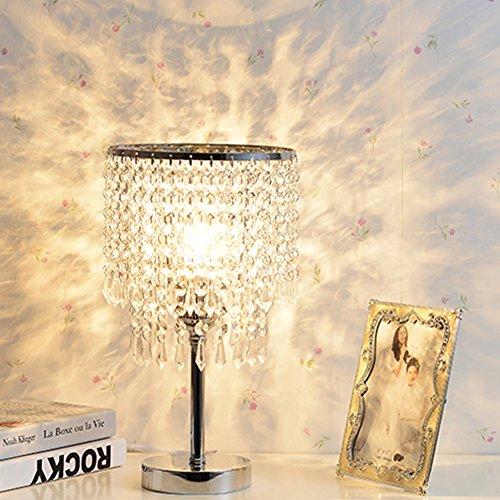 Tischleuchte, T-MIX luxuriöse Kristall-Lampenschirm Edelstahl Fassungen stilvolle Schönheit in den Schlafzimmer Wohnzimmer platziert - 5