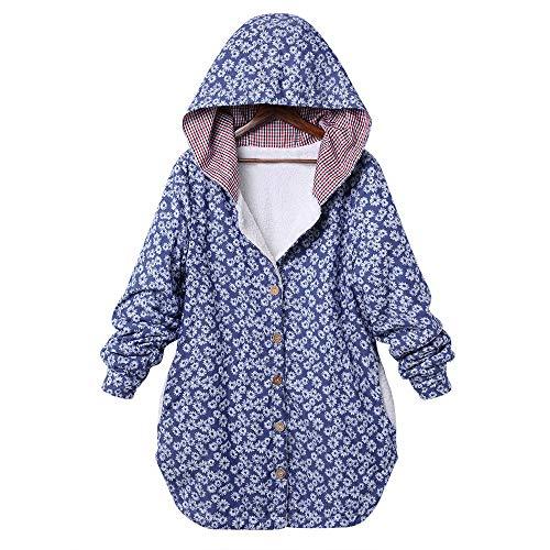 Große Größe Frauen Winter Warm Outwear MYMYG Blumendruck mit Kapuze Taschen Vintage Oversize Mäntel drucken Lässige Kapuzenoberteil (C1-Blau,EU:34/CN-S)