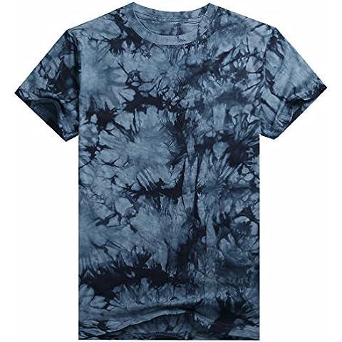 QIYUN.Z Verano De Los Hombres De Color Solido Tie-Dye De Manga Corta Camisetas