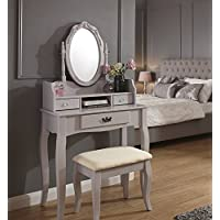 bd935518e3df Home Source Vintage Style Grey Dressing Table Padded Stool Oval Mirror  Drawers 3pc Set