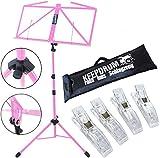 KEEPDRUM MUS3 PK Notenständer Pink + Tasche + 4 Stück Clip Notenklammer