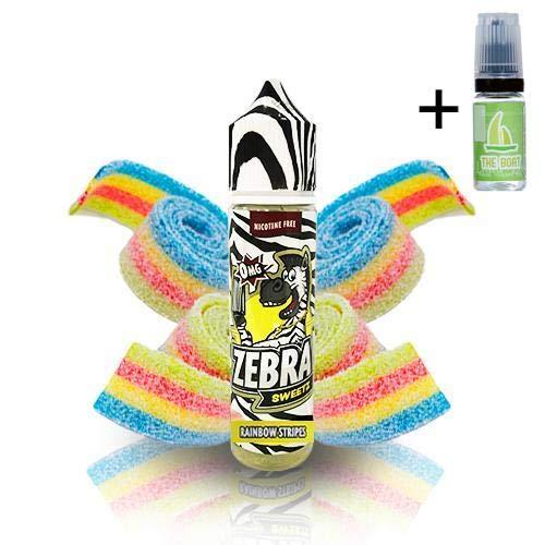 E Liquid Zebra Juice Sweetz Rainbow Strips 50ml - 80vg 20pg - booster shortfill + E Liquid The Boat...