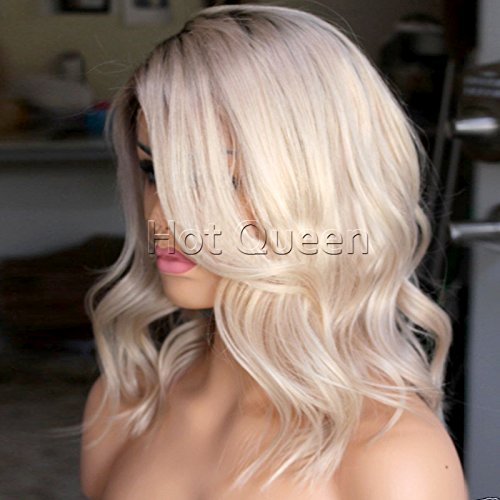 HotQueen Short Wavy Blonde Ombre full Lace Wig Bob Style Ombre 1b/613 Glueless Virgin Peruvian Human Hair Lace Front Wigs -