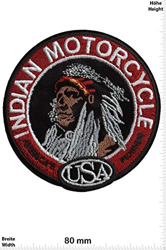 Patch - Indian Motorcycle - USA - Round - HQ - Motorrad - Motorrad - Indian - Aufnäher - zum aufbügeln - Iron On