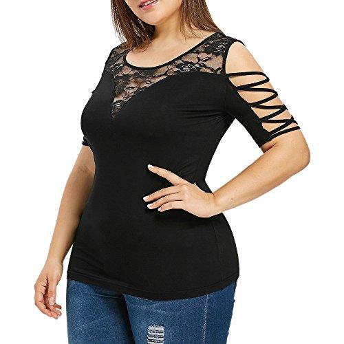 festkleid Damen Plus Size,Mode Frauen Plus Größe Criss Cross trägerlose Spitze Oansatz T-Shirt Tops Bluse Schwarz,4XL