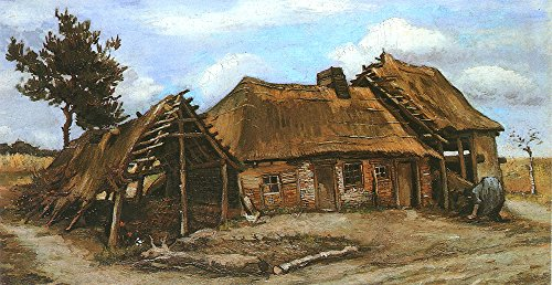 Vincent Van Gogh - Cottage with Decrepit Barn and Stooping Woman - Extra Large - Archival Matte Print