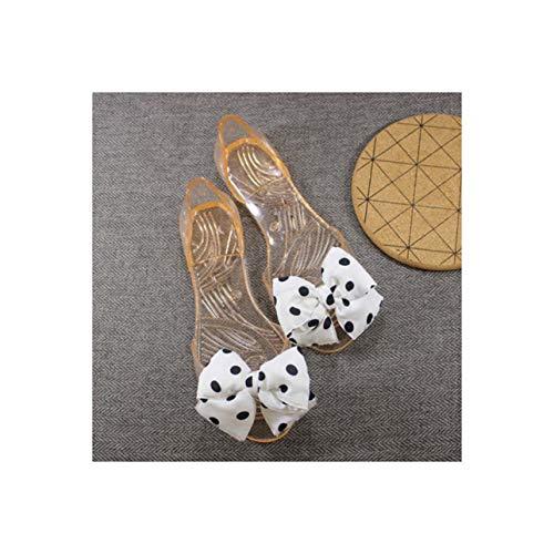 Sweet Bowknot Lady Jelly Shoes Women Sandals Transparent Summer Shoes DOT Print Female Flat Sandals Woman Sandalias WSH2060 Beige 9