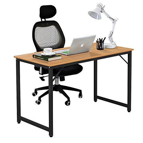 DlandHome Computer Schreibtisch 120 * 60 cm Computertisch für Heimarbeitsplatz-Workstation, Teakholz (Schreibtisch Workstation,)