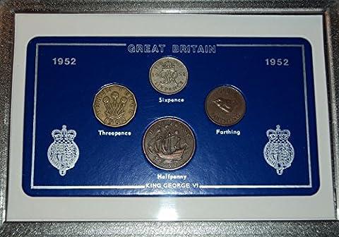 1952 GB Great Britain British Coin Birth Year Vintage Retro Gift Set (65th Birthday Present or Wedding Anniversary)