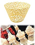 DIKETE® Cupcake Wrappers 50 stück Filigree Artistic Backen Kuchen Pappbecher Little Vine Spitze Schnitt Baking Cup Muffin-Kasten Untersatz für Hochzeit Geburtstag Party Dekoration