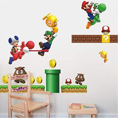 WUDHF Cartoon Super Mario Bros Wandaufkleber Junge Raumdekoration Kinder Kunst Aufkleber Wandhauptdekor Kinder Kindergarten Aufkleber Wohnkultur