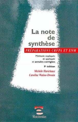 La note de synthèse par M. Harichau, C. Watine-Drouin