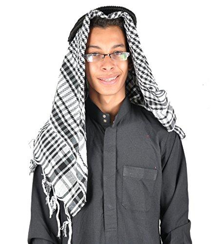 Egypt Bazar Traditionelle Arabische Kopfbedeckung Scheich - Araber Kopftuch- Karnevalskostüm/Farbe: schwarz-Weiss