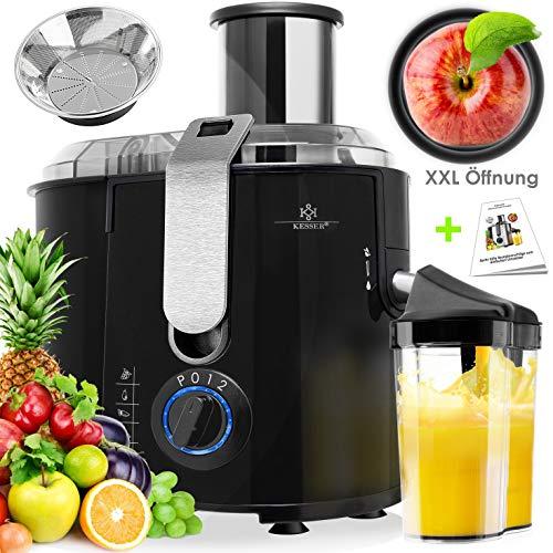 KESSER - Licuadora para Frutas y Verduras, Exprimidor Extactor de zumo, 1100W, 20 000 r.p.m, recipiente de 1 litro boca Ø 85 mm, 2 velocidades, Acero inoxidable