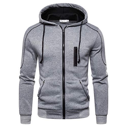 DNOQN Oversized Hoodie Herren Herbst Winter Sweatshirt Langarm Kapuzen Reißverschluss Outwear Tops Bluse