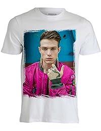 MACEDONIA T-Shirt Maglietta Personalizzata di Irama Plume Maglia a Manica Corta Bianca