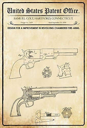 US Patente - Design for An Improvement in Revolving Chambered Fire-Arms - Entwurf für eine Verbesserung in Revolverkammern - Colt, Connecticut 1850 - Design No 7.629 - schild aus blech, metal sign, tin