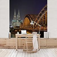 Türtapete Köln bei Nacht Roter Backstein Tür Türaufkleber  Aufkleber