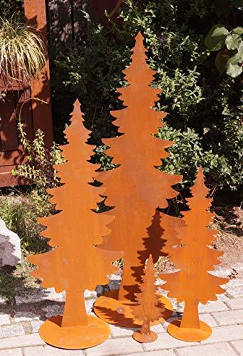 Edelrost Tanne auf Bodenplatte in 4 Größen Weihnachten Garten Dekoration - 1 Stück (Metall, 60 cm)