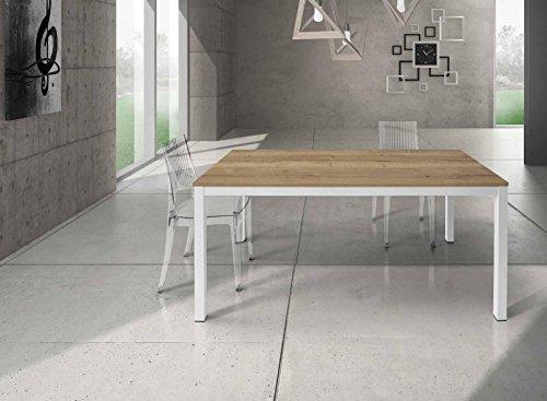 InHouse srls Table en Bois chêne noué avec Pied en Metal 140X90 avec 1 rallonge cm. 50; avec rallonges cm. 190x90