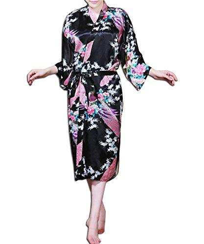 KAXIDY Damen Satin Blumen Schlafanzug Nachthemd Nachtwäsche Kimono Bademantel Schwarz