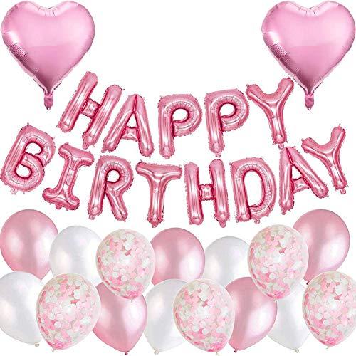 eko Rosa Happy Birthday Folienballons Girlande mit Konfetti Luftballons Rosa Für Geburtstag Partydeko Mädchen und Frauen ()