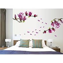 EverTrust (TM) DIY Decoración del hogar hermoso Mangnolia flores extraíble Arte de Pared Adhesivos Vinilo Adhesivo Papel pintado Mural Adesivo De Parede