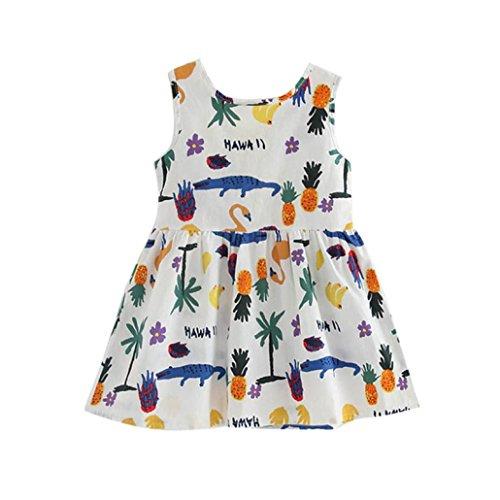 Amlaiworld sommer baby Gemütlich Tiere und Früchte drucken kleid Mädchen locker Tropischer Stil kleider niedlich Kleinkind Hawaii süße MIni dress, 1-6 Jahren alt (2 Jahren, Weiß) (Früchte Kostüm Machen)