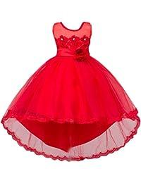 Niñas Chicas Vestidos Elegante Largo con Mangas Cortas para Boda Fiesta Rojo 8-9 años