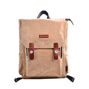 51FBO3mo%2BsL. SS300  - Douguyan Lona Mochila Bolsa para Mujer Mochilas Hombre Macbook Computadora de Escuela Viaje 120 Marrón