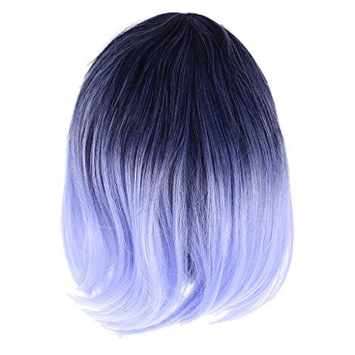 sharplace 45cm Frauen gelockt schwarz blau ombre Haar Perücken mit Blunt Pony Cosplay Kostüm Party Requisiten hitzebeständig Haar Faser Perücke (Blunt Kostüme)