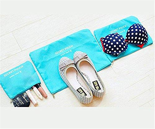Bestland 6 Sets Clothes Bags Suitcase Organizer Luggage Organizer Bag Packs Shoe-Bags Wäschesack Kompression Beutel (Blau)