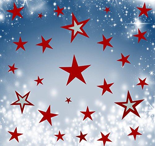 Wandschnörkel® 80 Sterne Dunkelrot Fensterbilder Weihnachten Schaufensteraufkleber Dekoration Gestalten Sie Ihre Fenster mit diesen wunderschönen Stickern Größe 3,5 cm -15cm (Dekorationen Fenster)