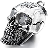 MunkiMix Stainless Steel Glass Pendant Necklace Silver Skull Gothic Men ,23 inch Chain