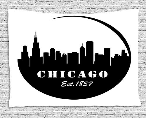 VTXWL Chicago Skyline Tapestry, American Town Famous Urban Design in Black I Love Chicago Architecture, Wall Hanging for Bedroom Living Room Dorm, 80 W X 60 L Inches, Black and White