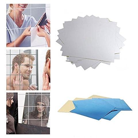 Ardisle Spiegel Fliesen Selbstklebende Rückseite quadratisch Badezimmer Wand Aufkleber Mosaik 16Stück