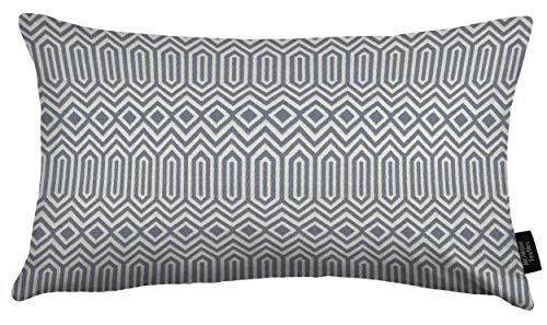 McAlister Textiles Colorado | Kissenbezug für Sofakissen in Wedgewood Blau | 60 x 40cm | Gewobenes geometrisches Jacquard Muster | Ethno-Design Deko Kissenhülle für Sofa, Couch -