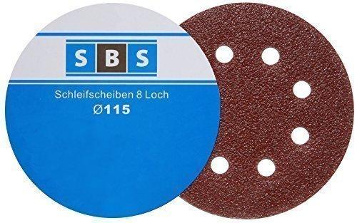 -50- Stück SBS Klett-Schleifscheiben Ø 115 mm Körnung 80 für Exzenter-Schleifer 8 Loch