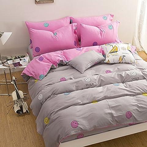 WaaiSo Simple Algodón puro Suave Cómodo ropa de cama sabanas de cama para niños, estudiantes y el dormitorio set de 4, 1.5m?suitable 5 inches